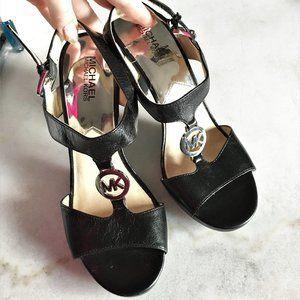New! Michael Kors black t-strap high heel sandals